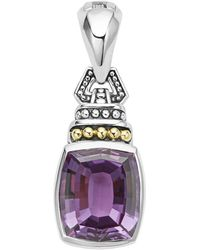 Lagos - 18k Gold And Sterling Silver Caviar Colour Amethyst Pendant - Lyst