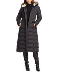 Ralph Lauren - Lauren Faux Fur Trim Puffer Maxi Puffer Coat - Lyst