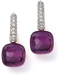 Pomellato - Nudo Earrings With Amethyst And Diamonds In 18k White And Rose Gold - Lyst