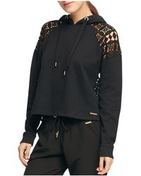 Donna Karan - New York Lace-paneled Hooded Sweatshirt - Lyst