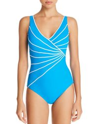 Gottex - Sinatra Piped Crossover V-neck One Piece Swimsuit - Lyst