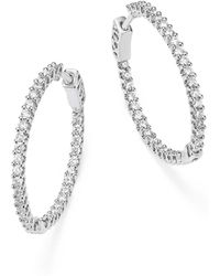 Bloomingdale's - Diamond Inside Out Hoop Earrings In 14k White Gold, 1.0 Ct. T.w - Lyst