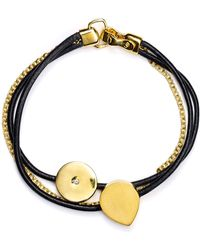 Elizabeth and James - Three Strand Leather And Chain Bracelet - Lyst