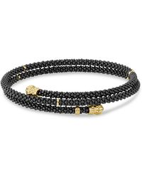 Lagos - Gold & Black Caviar Collection 18k Gold & Ceramic Coil Bracelet - Lyst