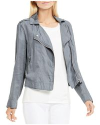 Two By Vince Camuto - Drapey Linen Moto Jacket - Lyst