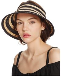 Bettina - Braided Straw Ribbon Stripe Visor - Lyst
