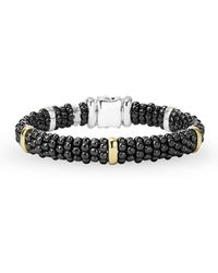 Lagos - Black Caviar Ceramic Sterling Silver And 18k Yellow Gold Station Bracelet - Lyst