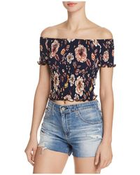 Aqua - Smocked Floral Cropped Top - Lyst