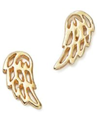 Bing Bang - 14k Yellow Gold Little Wing Stud Earrings - Lyst