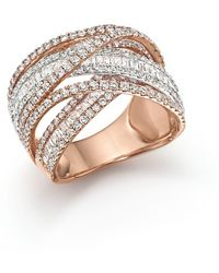 Bloomingdale's - Diamond Crossover Ring In 14k White And Rose Gold, 2.70 Ct. T.w. - Lyst