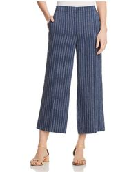 Eileen Fisher - Wide-leg Cropped & Striped Linen Trousers - Lyst