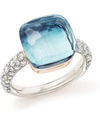Pomellato - Nudo Maxi Ring With Faceted Blue Topaz And Diamonds In 18k White And Rose Gold - Lyst