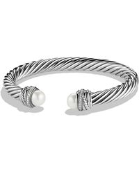 David Yurman | Crossovertm Bracelet With Pearls And Diamonds | Lyst