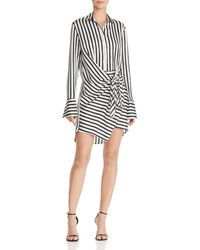 Aqua - Tie-front Striped Shirt Dress - Lyst