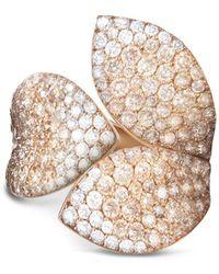 Pasquale Bruni - 18k Rose Gold Secret Garden Three Petal Pavé Diamond Ring - Lyst