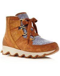 Sorel - Women's Kinetic Almond Toe Waterproof Nylon & Leather High-top Trainers - Lyst