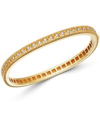 Roberto Coin - 18k Yellow Gold Byzantine Barocco Diamond Single Row Bangle Bracelet - Lyst