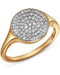 Adina Reyter - 14k Yellow Gold Pavé Diamond Extra Large Disc Signet Ring - Lyst