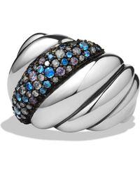 David Yurman - Hampton Cable Ring With Gray Diamonds & Blue Sapphires - Lyst