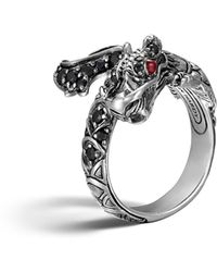 John Hardy - Naga Silver Lava Dragon Ring With Black Sapphires And Rubies - Lyst