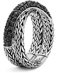 John Hardy - Sterling Silver Classic Chain Overlap Ring With Black Sapphire - Lyst