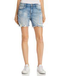 Aqua - High - Rise Distressed Denim Shorts In Light Wash - Lyst