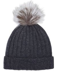 Bloomingdale's - Ribbed Fur Pom Hat - Lyst