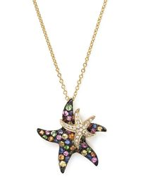 "Bloomingdale's - Multi Sapphire And Diamond Starfish Pendant Necklace In 14k Yellow Gold, 17"" - Lyst"