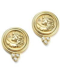 Temple St. Clair | 18k Yellow Gold Lion Coin Diamond Earrings | Lyst