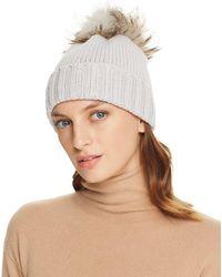 Inverni - Foldover Knit Beanie With Asiatic Raccoon Fur Pom-pom - Lyst