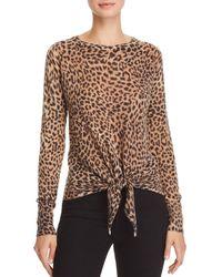 Olivaceous - Leopard-print Tie-front Sweater - Lyst