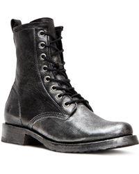 Frye - Women's Veronica Metallic Leather Combat Boots - Lyst