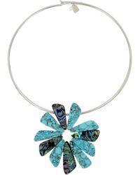 "Robert Lee Morris - Silver-tone Multi-stone Flower 16"" Pendant Necklace - Lyst"