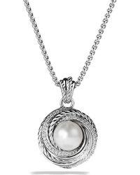 David Yurman | Pearl Crossover Pendant With Diamonds On Chain | Lyst
