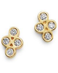 Zoe Chicco - 14k Yellow Gold Tiny Quad Diamond Stud Earrings - Lyst
