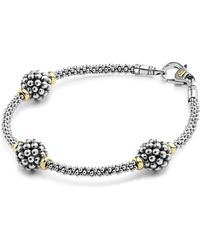 Lagos - 18k Yellow Gold And Sterling Silver Petite Oval Rope Bracelet - Lyst