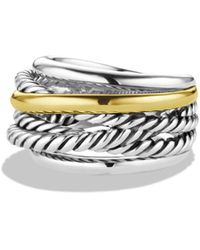 David Yurman - Crossover Narrow Ring With Gold - Lyst