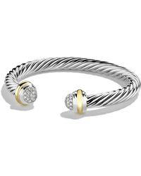 David Yurman - Silver Ice Pavé Diamond Cable Bracelet - Lyst