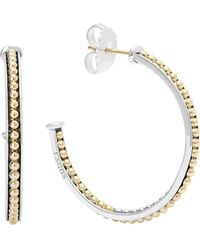 Lagos - 18k Gold And Sterling Silver Enso Medium Caviar Lined Hoop Earrings - Lyst