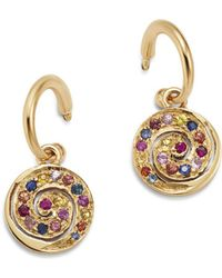 Shebee - 14k Yellow Gold Multicolor Sapphire Spiral Charm Drop Earrings - Lyst