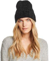 Aqua - Fuzzy Knit Hat - Lyst