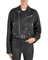 The Kooples - Fleece Moto Jacket - Lyst