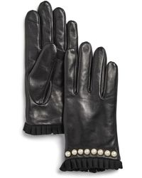 Echo - Embellished Pleated-trim Leather Gloves - Lyst