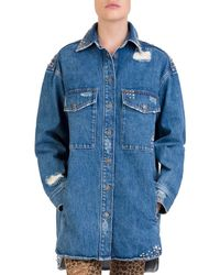 The Kooples - Studded Distressed Denim Shirt - Lyst