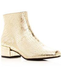 Frēda Salvador - Women's True Metallic Embossed Leather Mid Heel Booties - Lyst