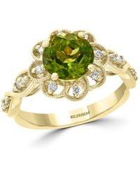 Bloomingdale's - Peridot & Diamond Flower Ring In 14k Yellow Gold - Lyst