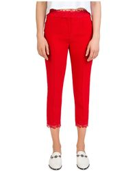 The Kooples - Daisy Cropped Lace-trimmed Crepe Trousers - Lyst