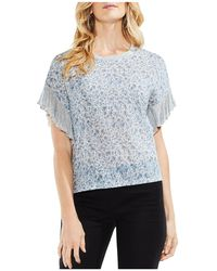 Vince Camuto - Floral-print Ruffle-sleeve Top - Lyst