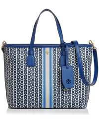 ce390e1814d Lyst - Tory Burch Tote - Kerrington Stripe Crossbody Shopper in Blue