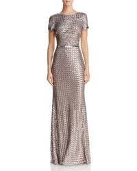 Aqua - Belted Sequin Gown - Lyst